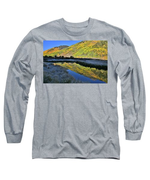 Beautiful Mirror Image On Crystal Lake Long Sleeve T-Shirt