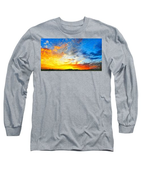 Beautiful Sunset In Landscape In Nature With Warm Sky, Digital A Long Sleeve T-Shirt