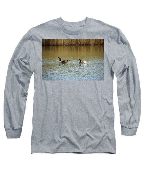 Bidston.  Bidston Moss Wildlife Reserve. Two Geese. Long Sleeve T-Shirt