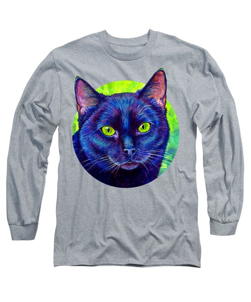 Black Cat With Chartreuse Eyes Long Sleeve T-Shirt
