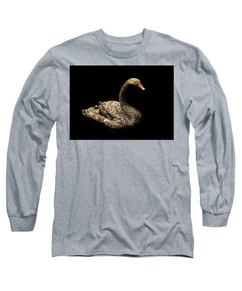 Black Swan On Black  Long Sleeve T-Shirt