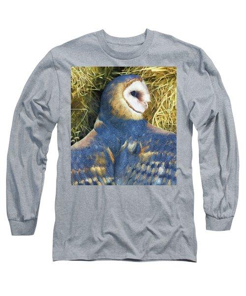 Blue Barn Owl Long Sleeve T-Shirt