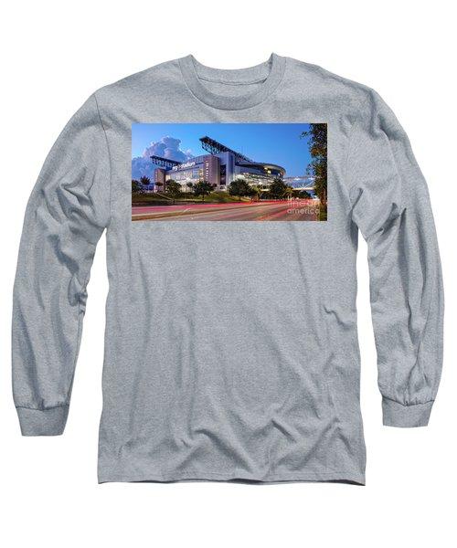 Blue Hour Photograph Of Nrg Stadium - Home Of The Houston Texans - Houston Texas Long Sleeve T-Shirt