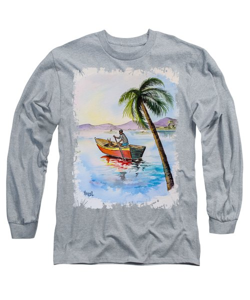 Boat And Palm Long Sleeve T-Shirt