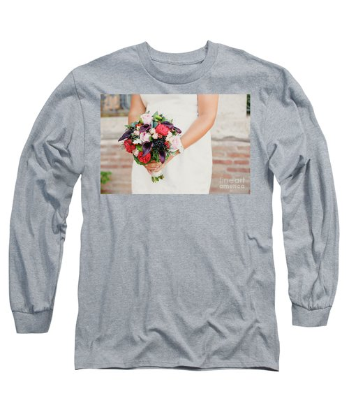 Bridal Bouquet Held By Her With Her Hands At Her Wedding Long Sleeve T-Shirt