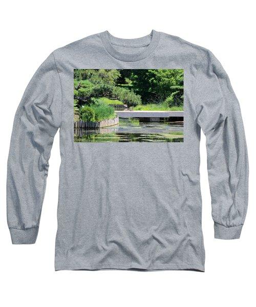 Bridge Over Pond In Japanese Garden Long Sleeve T-Shirt