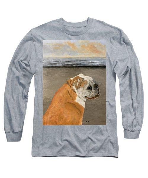 Bulldog  On The Beach Long Sleeve T-Shirt