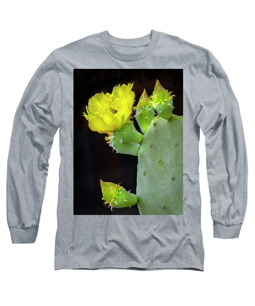 Cactus Blooms With Bee II Long Sleeve T-Shirt