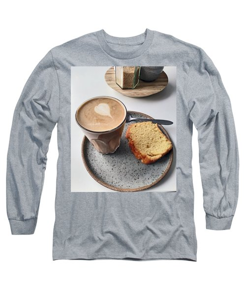 Cafe. Latte And Cake.  Long Sleeve T-Shirt