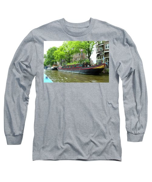Canal Boats In Amsterdam - 2 Long Sleeve T-Shirt