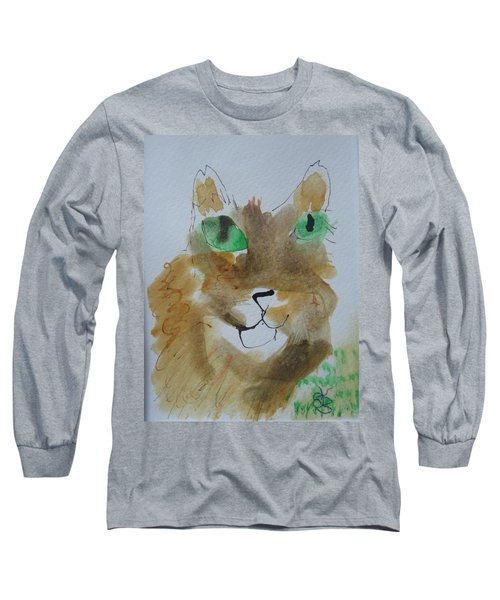 Cat Face Yellow Brown With Green Eyes Long Sleeve T-Shirt