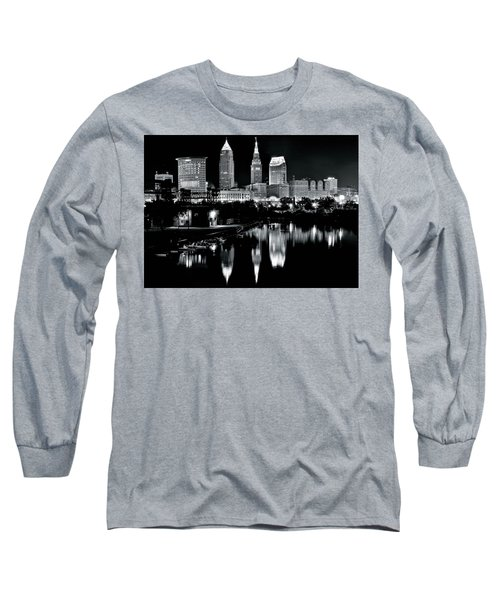 Charcoal Night View Of Cleveland Long Sleeve T-Shirt