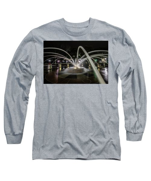 Charleston's Splash Fountain At Night Long Sleeve T-Shirt