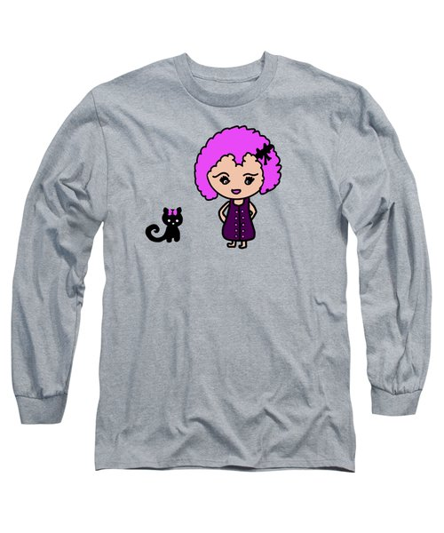 Chibu Girl And Cat Whimsy Long Sleeve T-Shirt