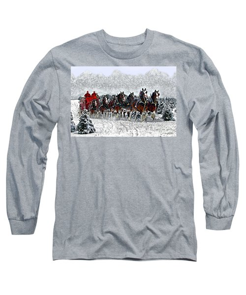 Clydesdales Hitch In Snow Long Sleeve T-Shirt