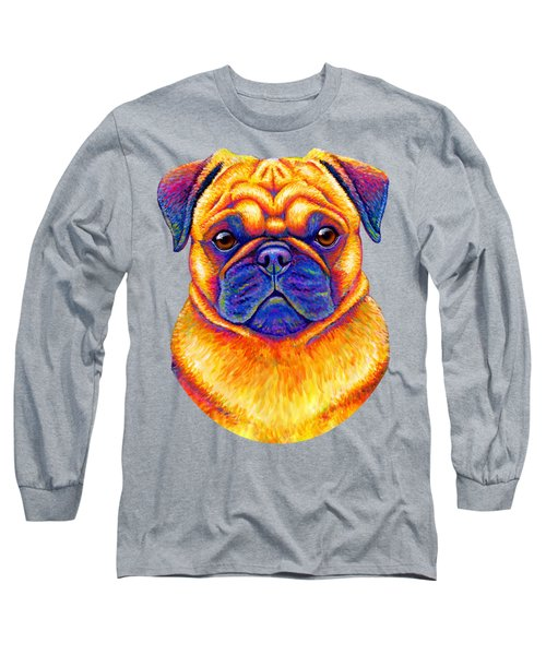 Colorful Rainbow Pug Dog Portrait Long Sleeve T-Shirt