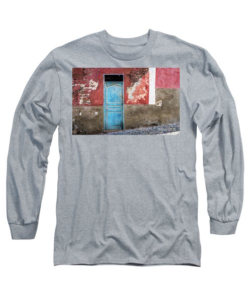 Colorful Wall With Blue Door Long Sleeve T-Shirt