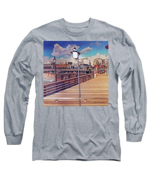 Coney Island Boardwalk Pillow Mural #1 Long Sleeve T-Shirt