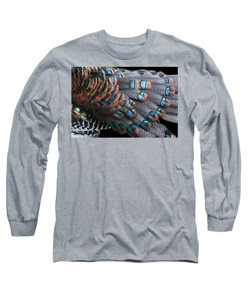Copper-tipped Ocellated Turkey Feathers Photograph Long Sleeve T-Shirt