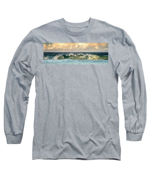 Crashing Waves And Cloudy Sky Long Sleeve T-Shirt