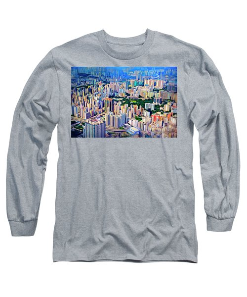 Crowded Hong Kong Abstract Long Sleeve T-Shirt