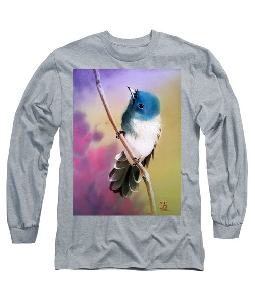 Curious Birdie On Branch Long Sleeve T-Shirt