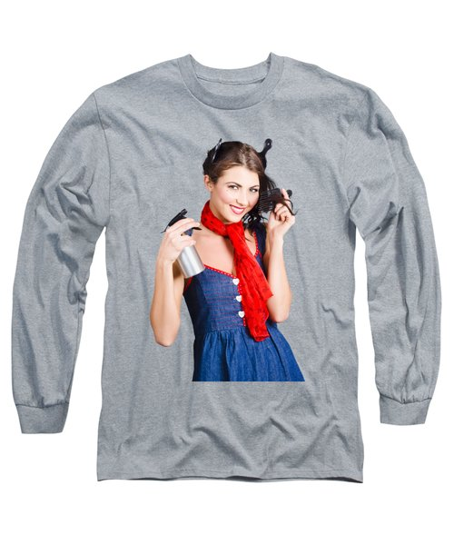 Cute Girl Model Styling A Hairdo. Pinup Your Hair Long Sleeve T-Shirt
