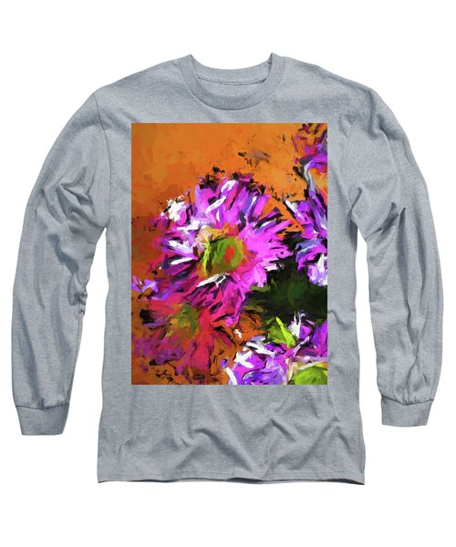 Daisy Rhapsody In Lavender And Pink Long Sleeve T-Shirt
