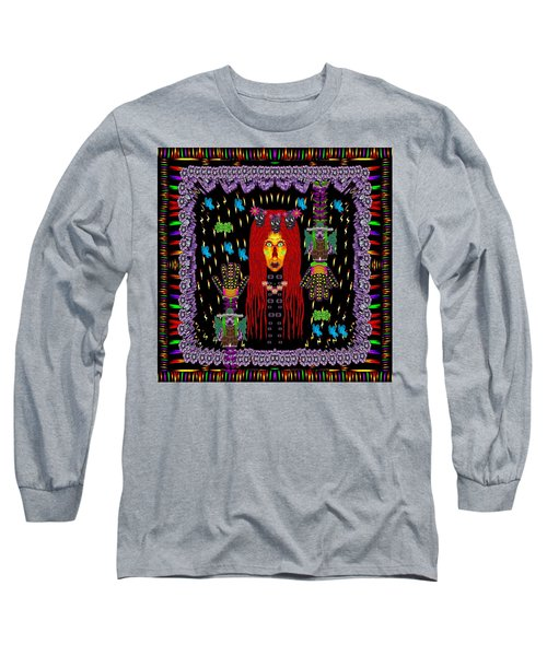 Demonic Madonna With Rose Skulls And Baby Bears With Hats Long Sleeve T-Shirt