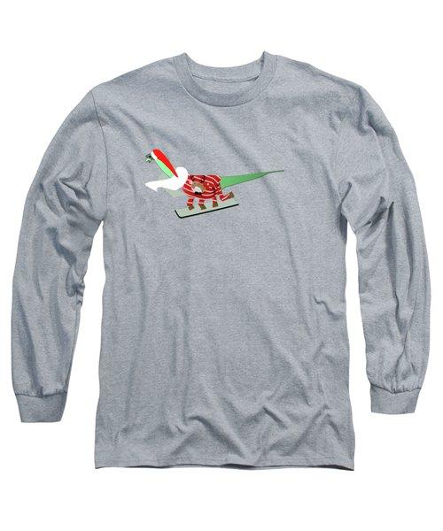 Dinosaur Snowboarding In Ugly Christmas Jumper Long Sleeve T-Shirt