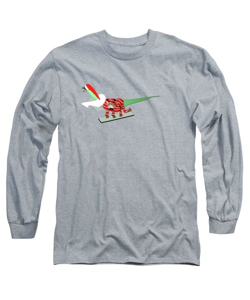 Dinosaur Snowboarding In Ugly Christmas Jumper Long Sleeve T-Shirt