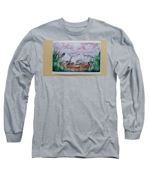 Distant Impressionistic Mountains Long Sleeve T-Shirt