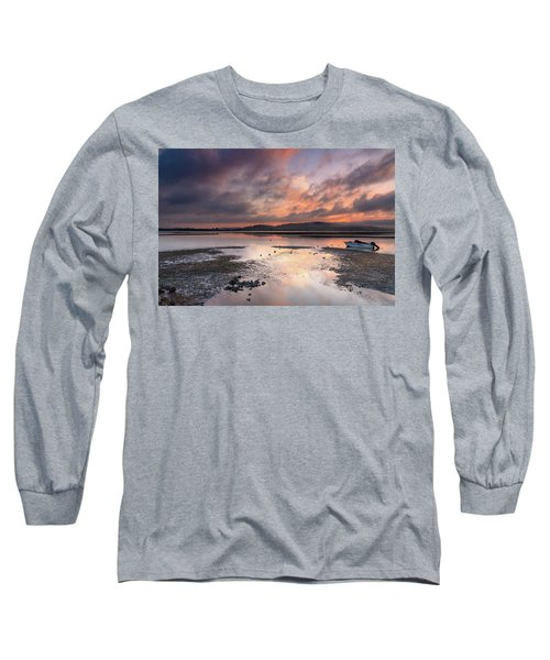 Dusky Pink Sunrise Bay Waterscape Long Sleeve T-Shirt