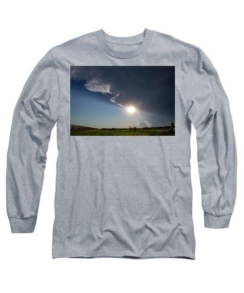 Dying Nebraska Thunderstorms At Sunset 002 Long Sleeve T-Shirt