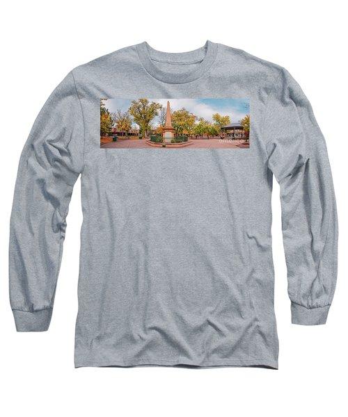 Early Morning Panorama Of Santa Fe Plaza - New Mexico Land Of Enchantment Long Sleeve T-Shirt