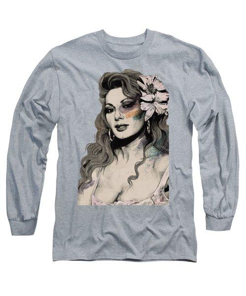 Edwige - Street Art Sexy Portrait Of Edwige Fenech Long Sleeve T-Shirt