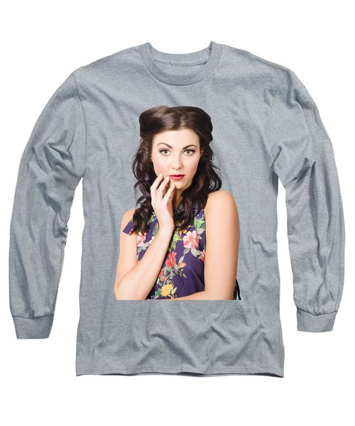 Face Of A Female Beauty With Flawless Makeup  Long Sleeve T-Shirt