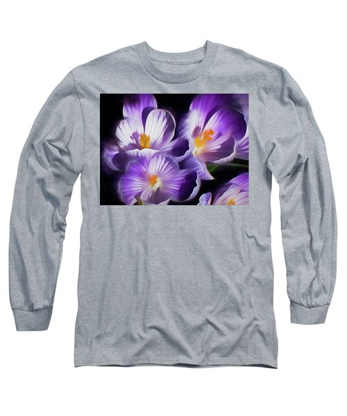 Long Sleeve T-Shirt featuring the mixed media First Crocuses On The Sunny Side Of The Street by Lynda Lehmann