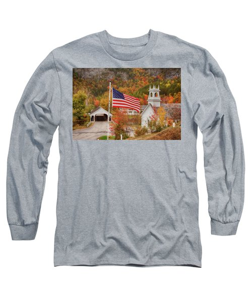 Flag Flying Over The Stark Covered Bridge Long Sleeve T-Shirt