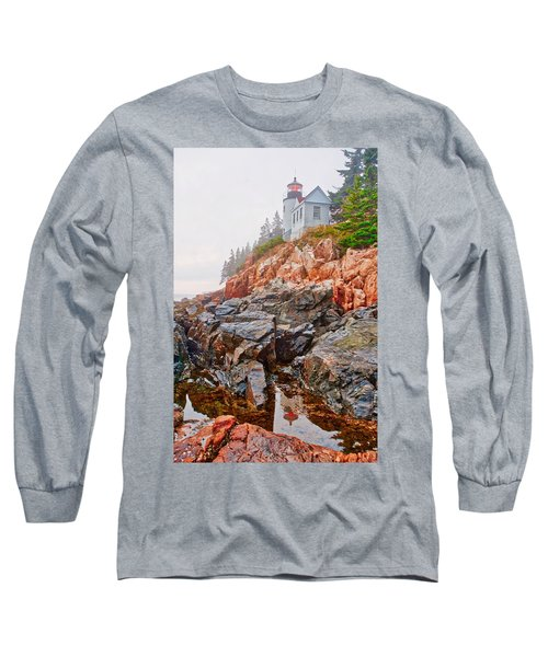 Foggy Bass Harbor Lighthouse Long Sleeve T-Shirt