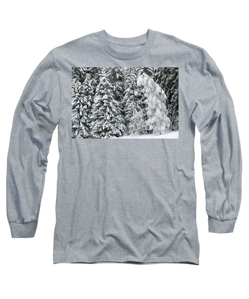 French Alps, Snow Covered Fir Trees In Winter Long Sleeve T-Shirt