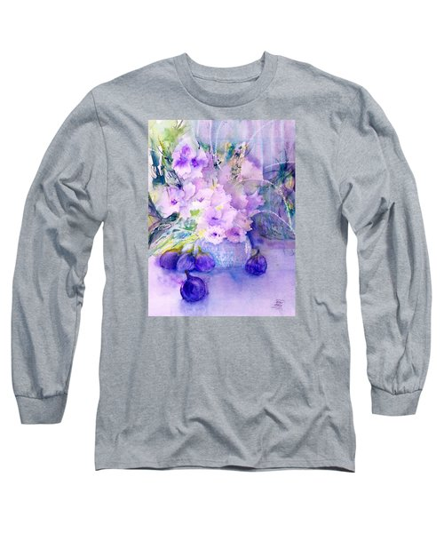 Fresh Figs And Orchids Still Life Long Sleeve T-Shirt