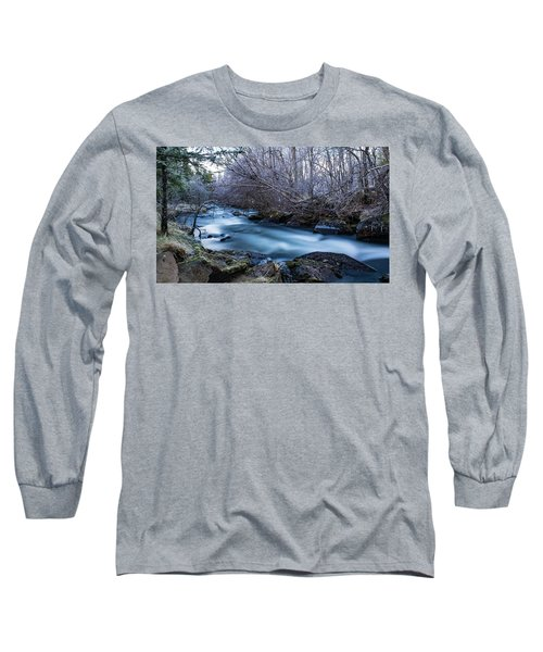 Frozen River Surrounded With Trees Long Sleeve T-Shirt