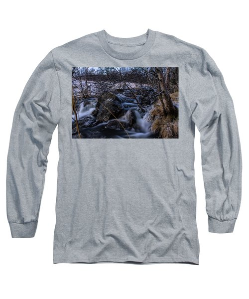 Frozen Stream In Winter Forest Long Sleeve T-Shirt