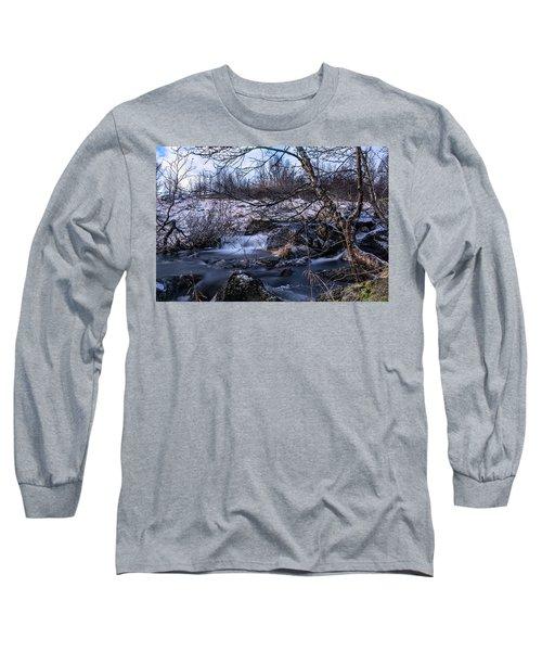 Frozen Tree In Winter River Long Sleeve T-Shirt
