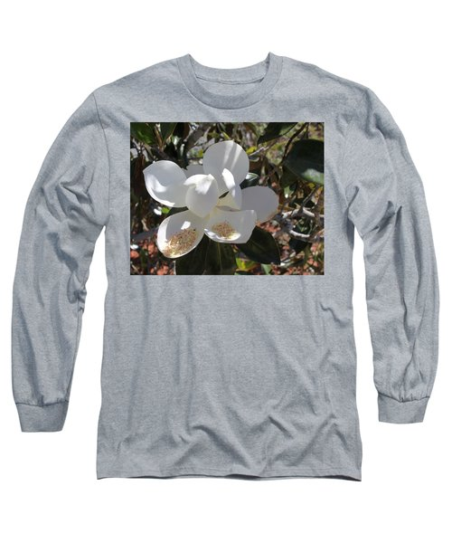 Gigantic White Magnolia Blossoms Blowing In The Wind Long Sleeve T-Shirt