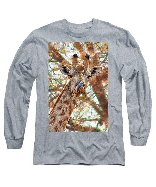 Giraffe Says Yum Long Sleeve T-Shirt