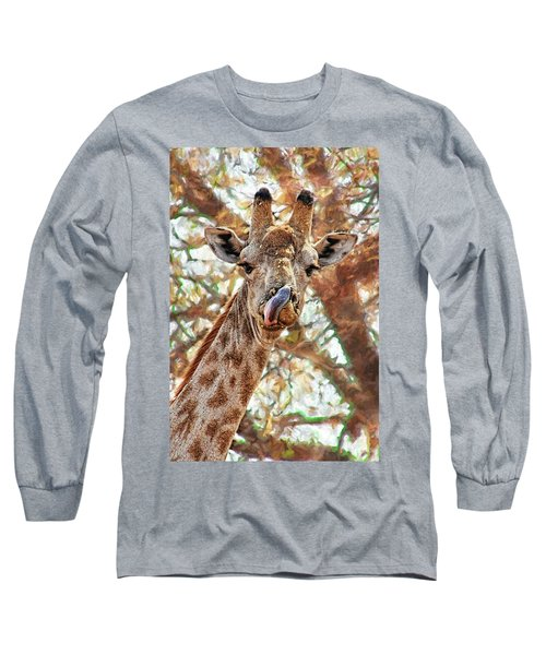 Giraffe Says Yum Long Sleeve T-Shirt