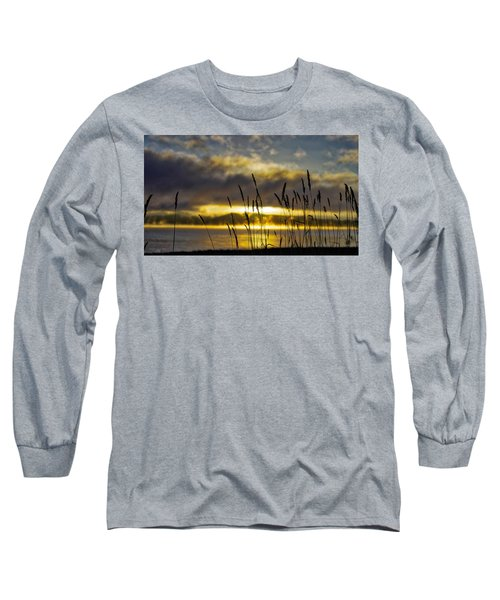 Grassy Shoreline Sunrise Long Sleeve T-Shirt