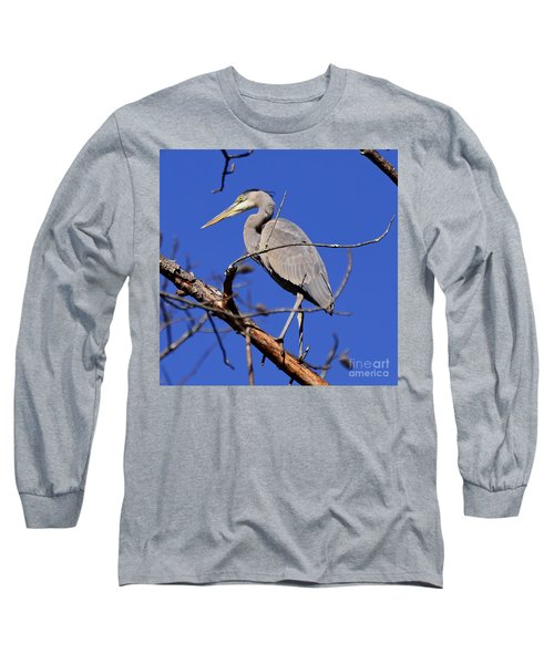 Great Blue Heron Strikes A Pose Long Sleeve T-Shirt